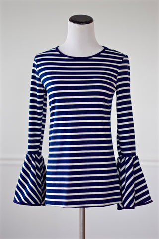 Alyna Navy and White Striped Bell Sleeve Top