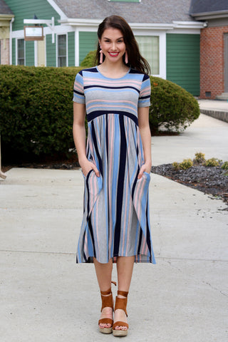 Michelle Striped Midi Dress