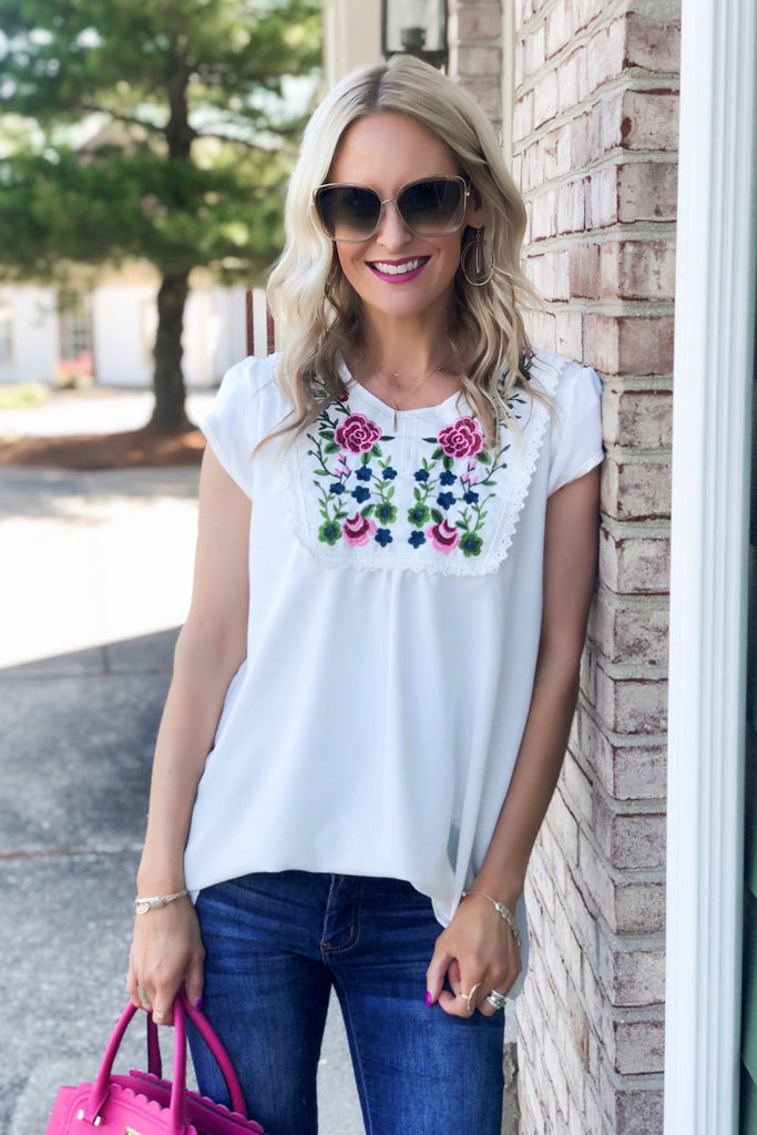 Kimberly White Embroidered Top
