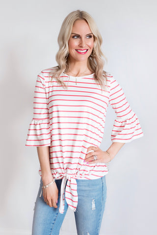 Katrina White and Coral Striped Tie Front Top