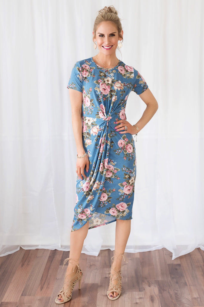 Alexis Blue Floral Knotted Midi Dress