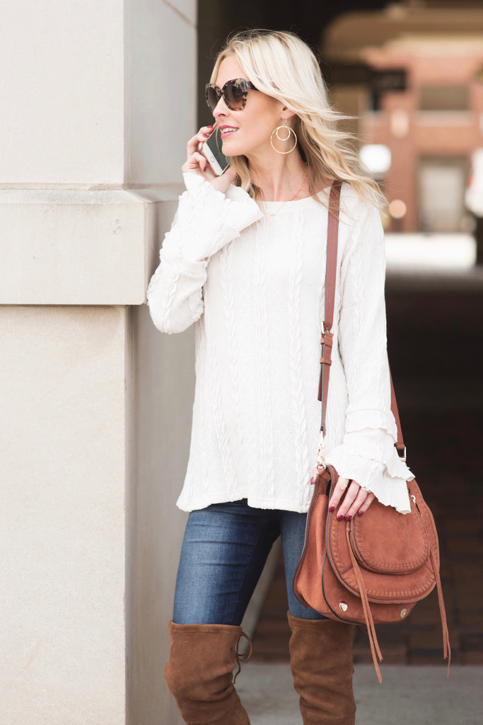 Remi Ivory Cable Knit Ruffle Sleeve Sweater
