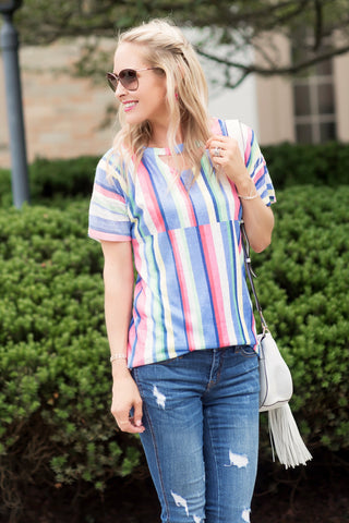 Lily Multicolor Striped Key Hole Top
