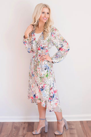 Layla Grey Floral Wrap High-Low Midi Dress