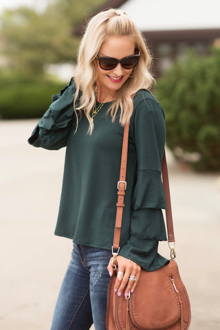 Jasmine Hunter Green Long Layered Ruffle Sleeve Top