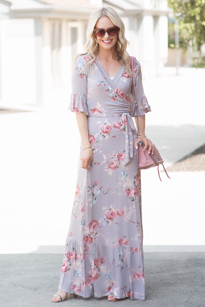 Allie Dusty Lavender Floral Faux Wrap Maxi Dress