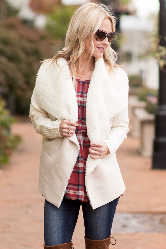 Ashley Ivory Sherpa and Sweater Mix Jacket