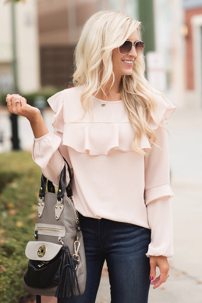 Felicity Blush Ruffled Blouse