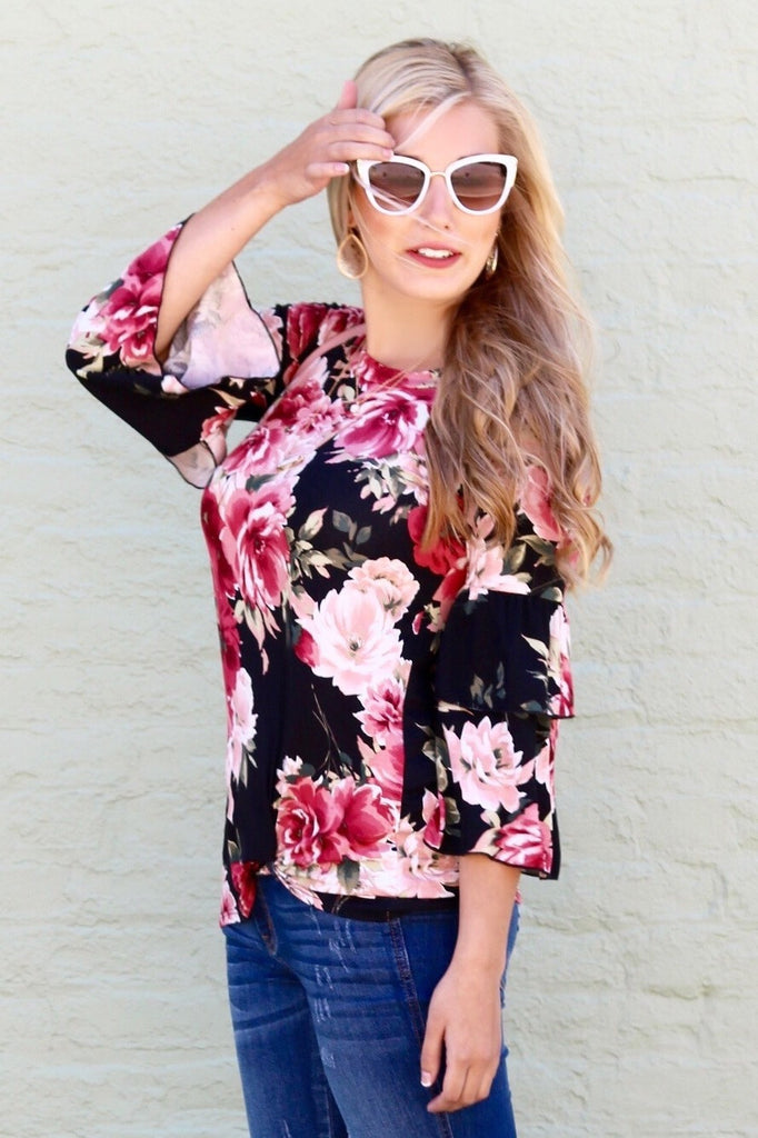 Mallory Black Floral Ruffle Sleeve Top