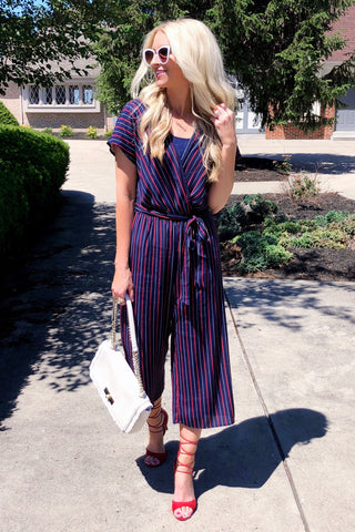 Georgia Navy Striped Cropped Jumpsuit