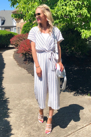 Virginia White Striped Cropped Jumpsuit