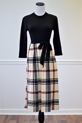 Lucy Black Plaid Midi Dress