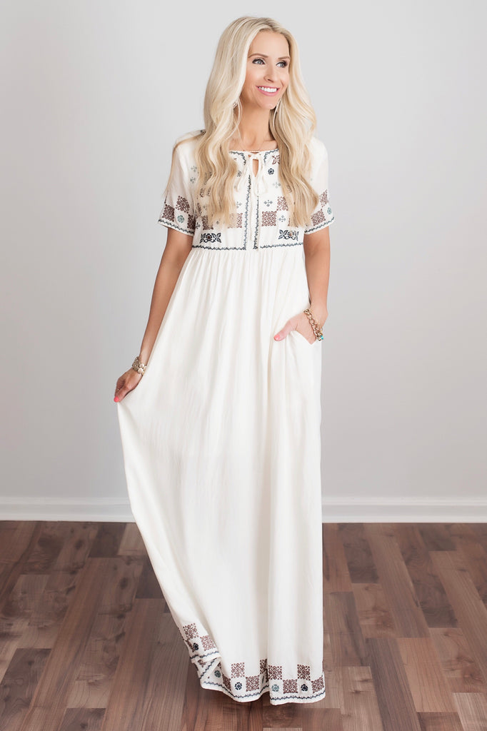 Whitney Ivory Embroidered Maxi Dress