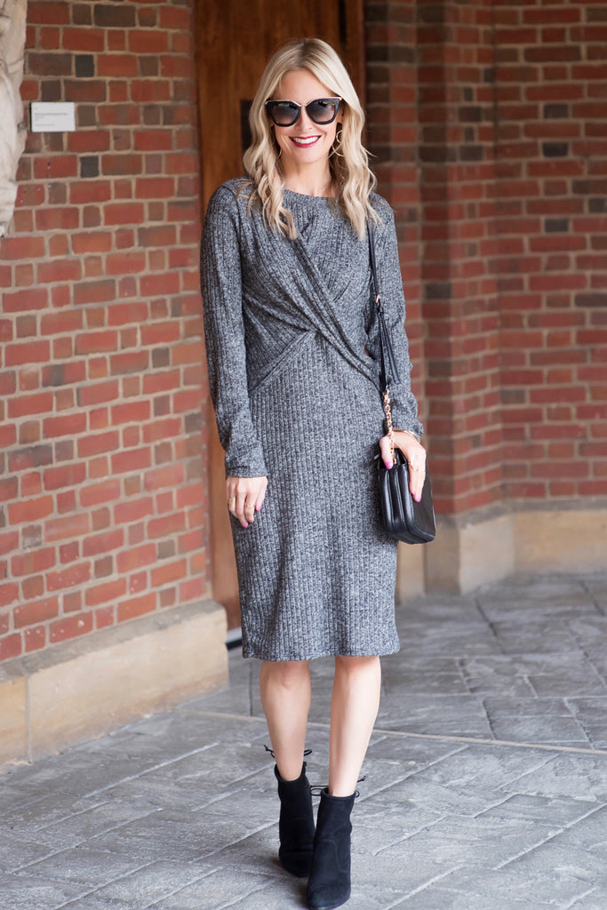 Ava Charcoal Knotted Sweater Midi Dress