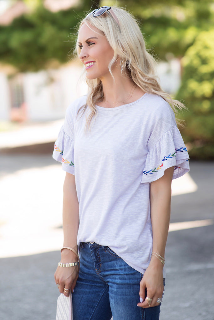 Penelope Purple Embroidered Ruffle Sleeve Top