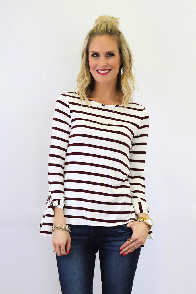 Daria Red and Ivory Striped Tie Sleeve Top