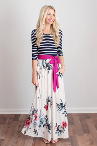 Bryanna Striped and Floral Maxi Dress