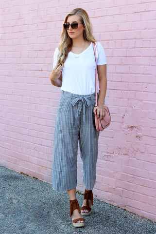 Presley Blue and White Striped Cropped Pants