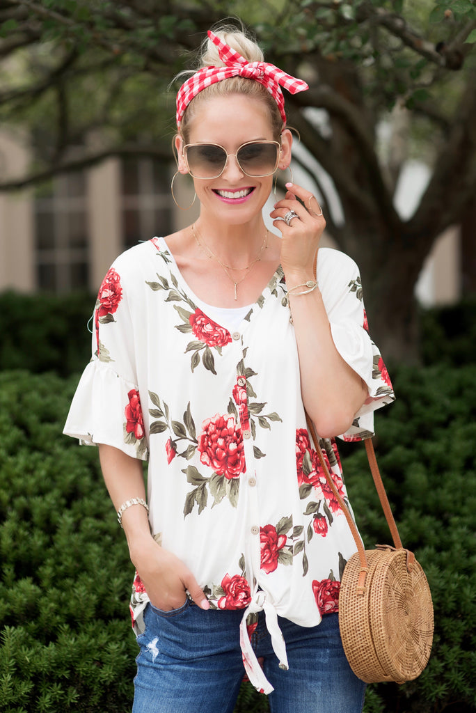 Mallory White Button Front Floral Top