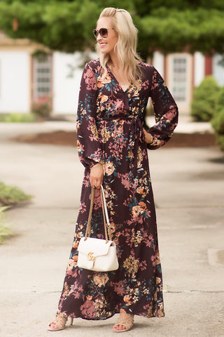 Wren Plum Floral Faux-Wrap Maxi Dress