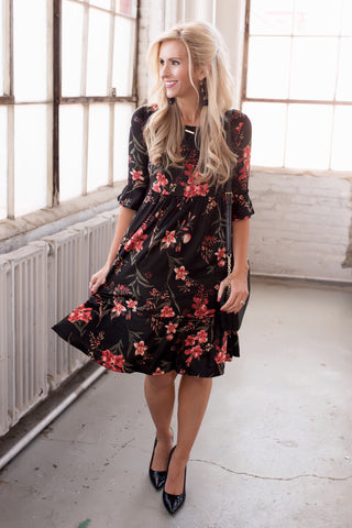 Reese Black Floral Crushed Velvet Midi Dress