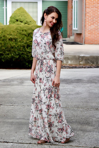 Brynn Ivory and Pink Floral Maxi Dress