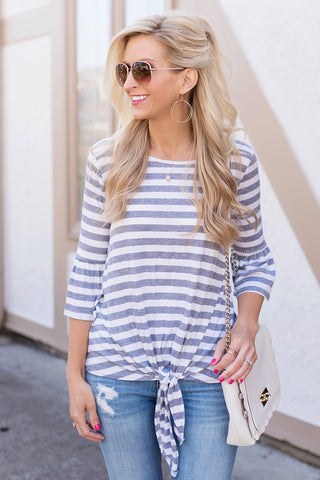 Audrey Grey and White Striped Tie Front Top