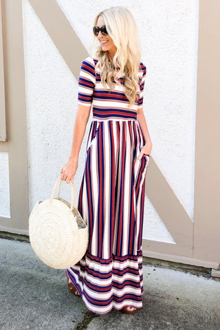 Liberty Red, White, and Blue Striped Maxi Dress
