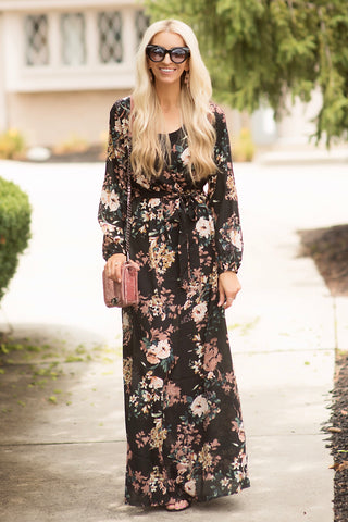 Lisa Black Floral Faux-Wrap Maxi Dress