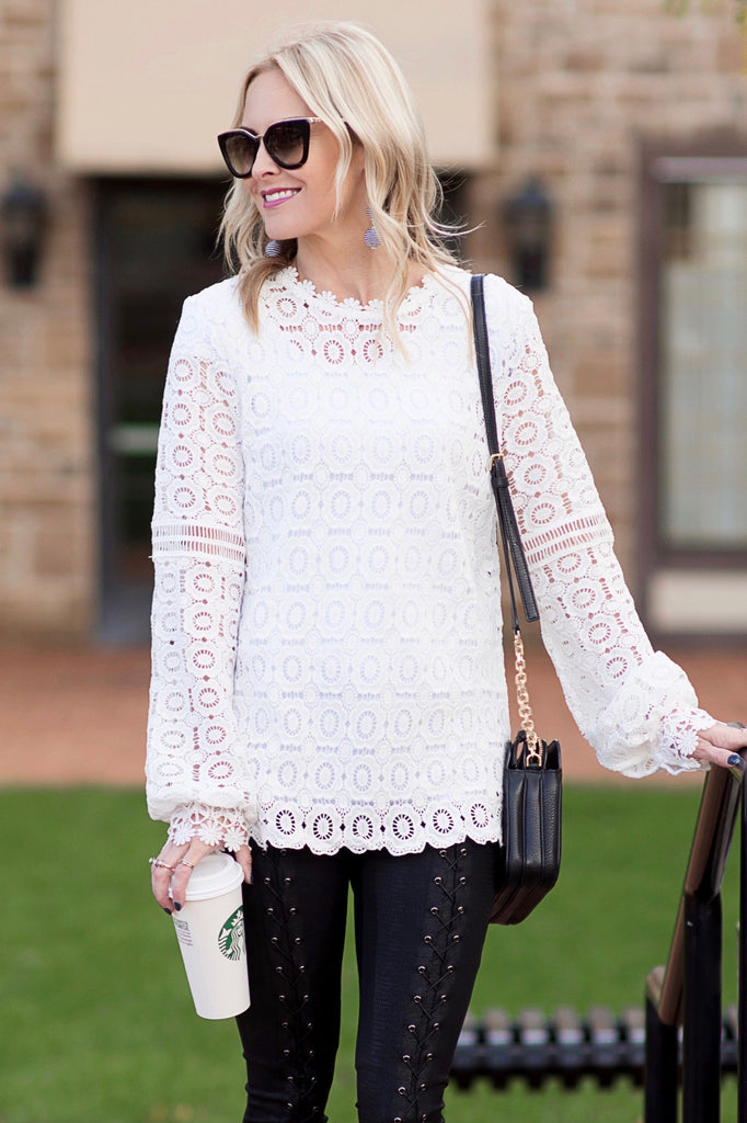 Audrey White Lace Tunic Top