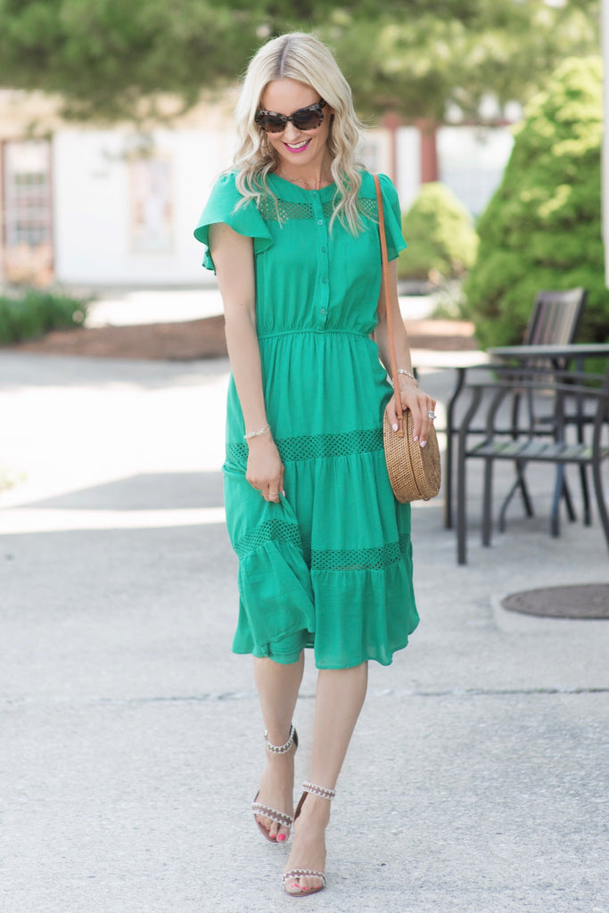 Rory Green Lace Trim Midi Dress