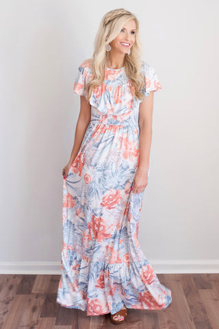 Brooke Coral and Blue Floral Ruffle Maxi Dress