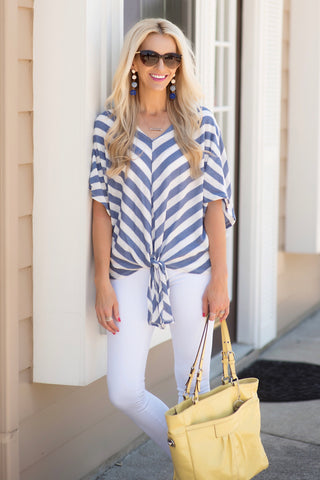 Natasha Blue and White Striped Knit Top