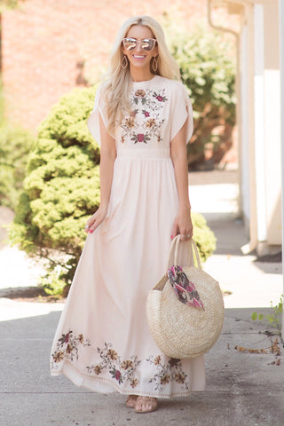 Laurel Light Peach Embroidered Maxi Dress