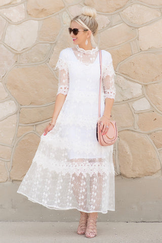 Claire White Lace Maxi Dress