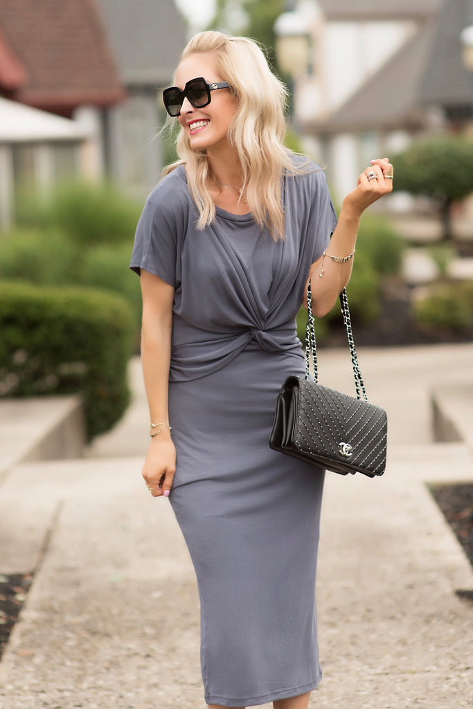Macey Grey Twist Front Midi Dress