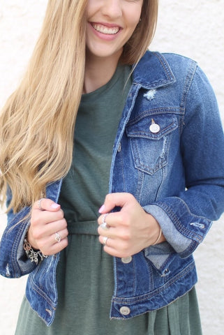Arianna Medium Blue Cropped Denim Jacket