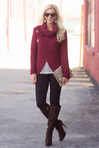 Cosette Red Cowl Neck Tulip Hem Sweater