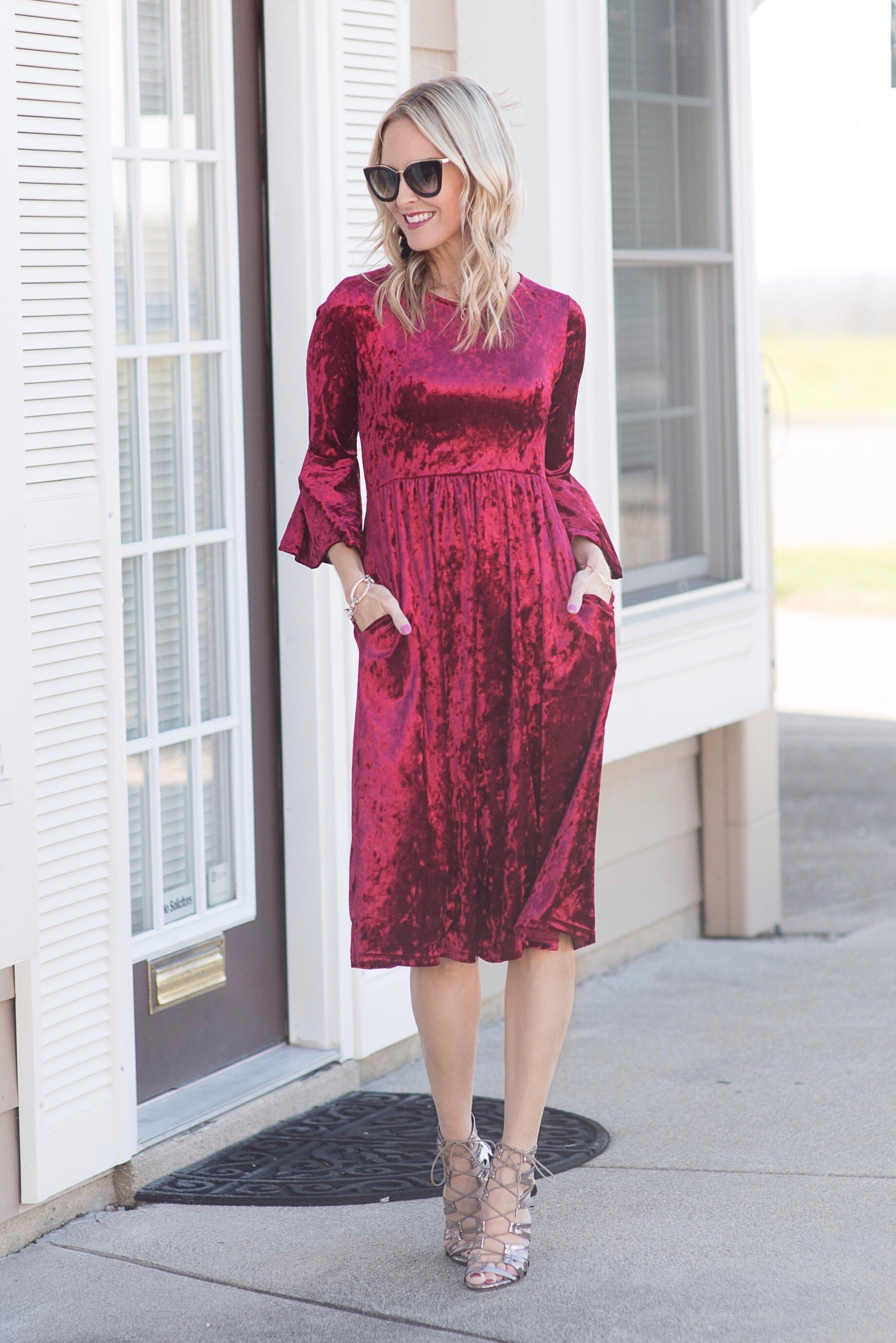 992ff167d95 Maren Crushed Red Velvet Midi Dress