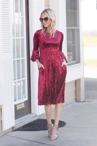 Maren Crushed Red Velvet Midi Dress
