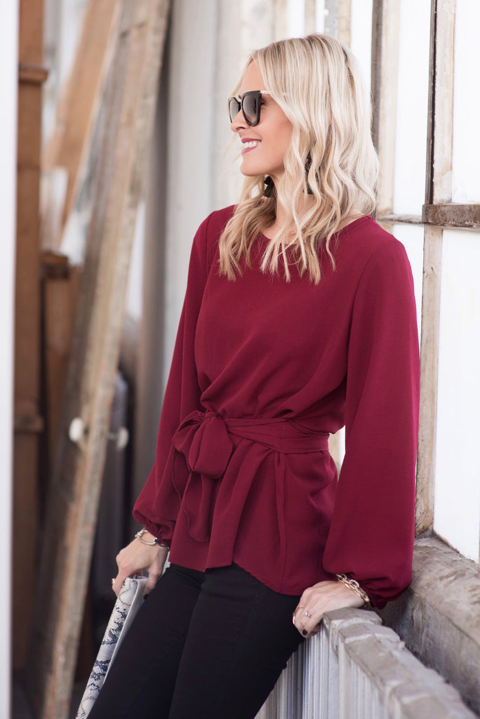 Macy Burgundy Tie-Front Blouse