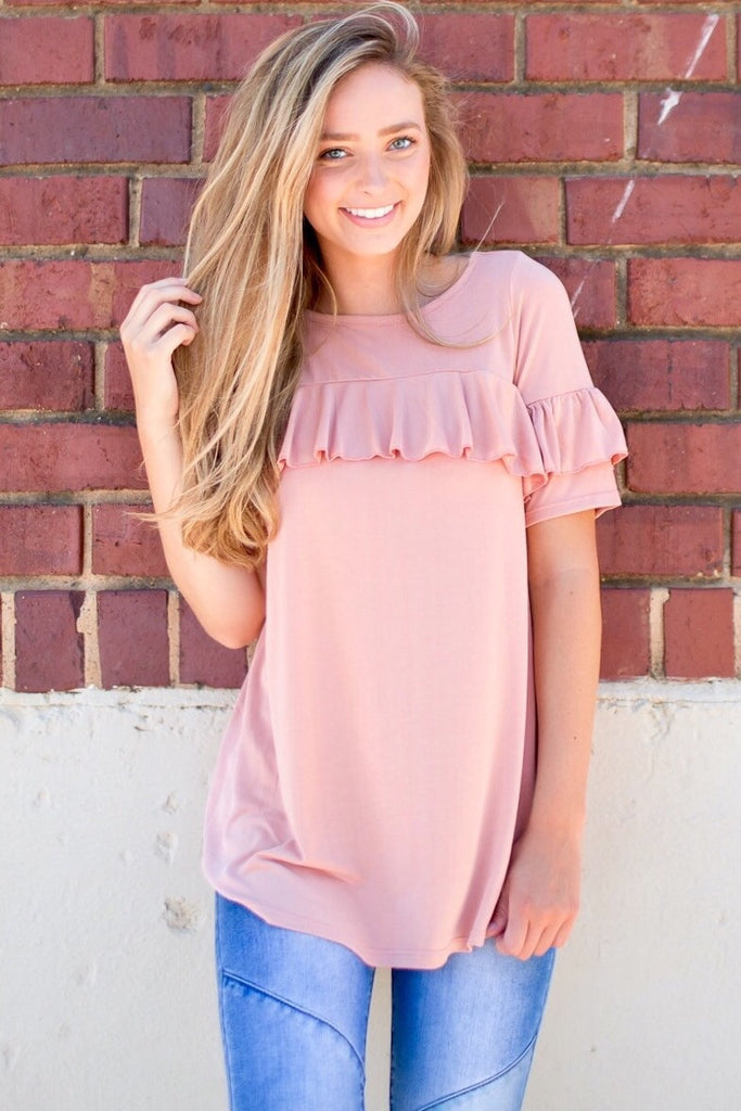 Ella Blush Ruffle Top