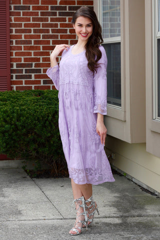 Aubrey Lavender Lace Midi Dress