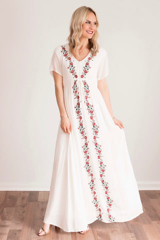 Britney White Embroidered Maxi Dress