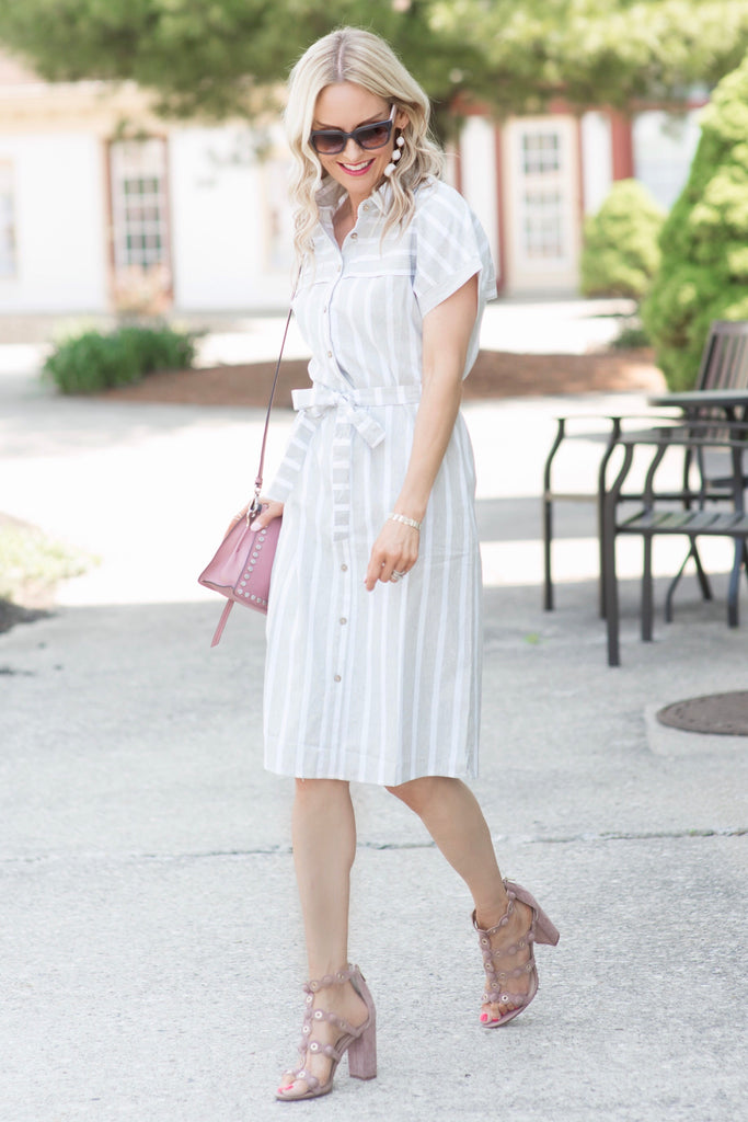 Blair Grey and White Striped Shirt Midi Dress