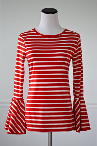 Joan Red and White Striped Bell Sleeve Top