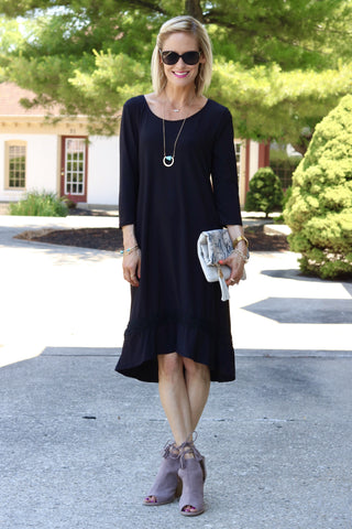 Brynn Black Midi Dress