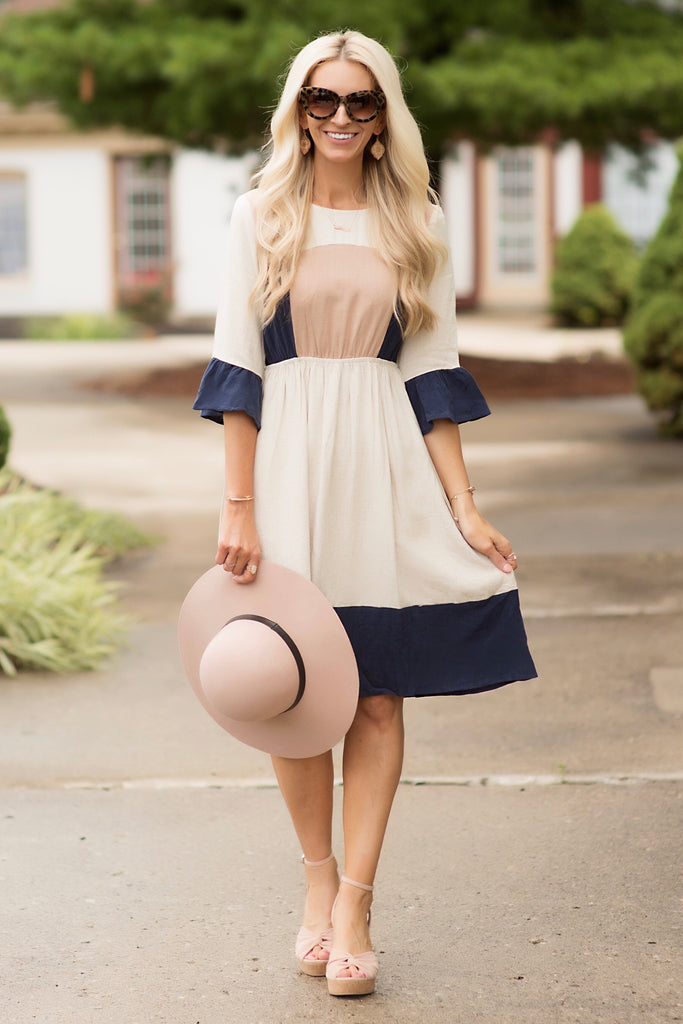 Peggy Beige and Navy Linen Colorblock Midi Dress