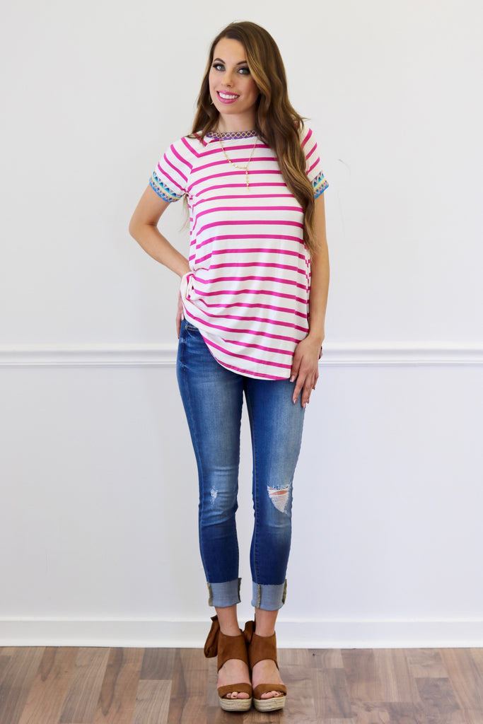 Rochelle Pink Striped Embroidered Top