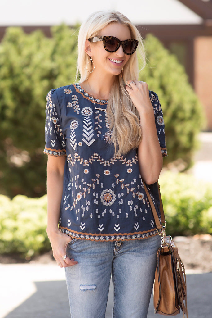 Melissa Navy Embroidered Top